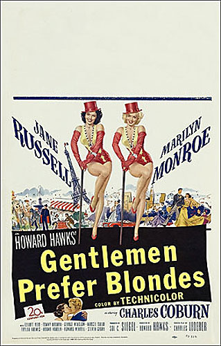 Gentlemen Prefer Blondes Marilyn Monroe 1953 Window Card Poster Reproduction