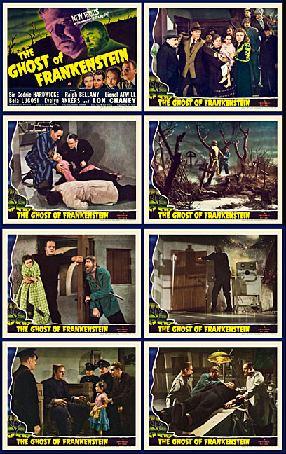 Ghost of Frankenstein 1942 Lobby Card Set (11 X 14) Lon Chaney