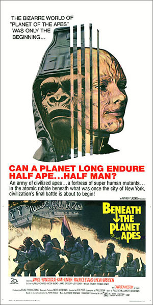 Beneath the Planet of the Apes 1970 3 Sheet Reproduction Poster at 1/2 Size