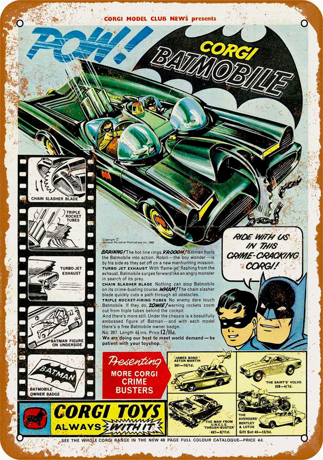 "Batman 1966 Batmobile Corgi Toy Metal Sign 9"" x 12"""