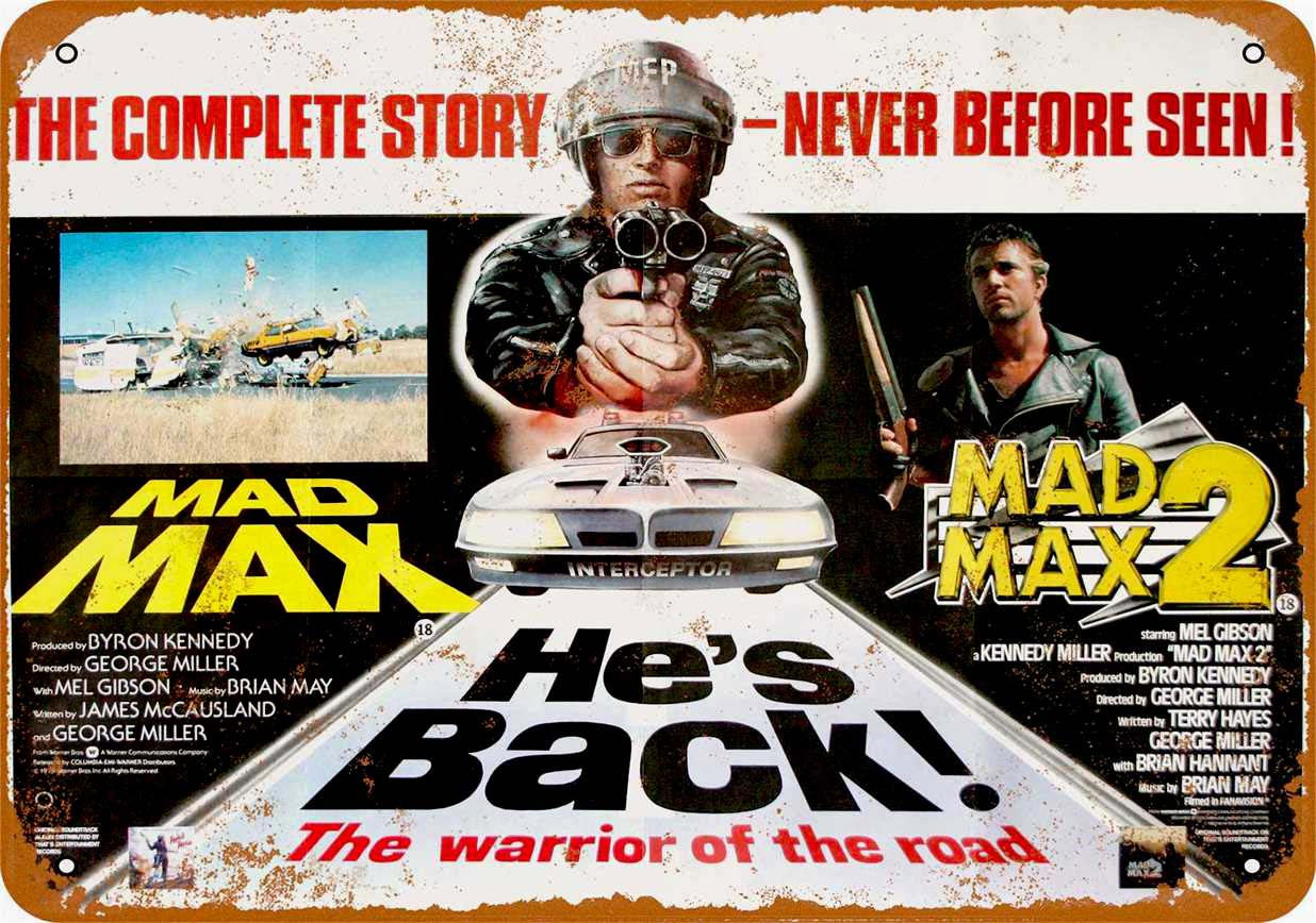 "Mad Max 1979 / Mad Max 2 Metal Sign 9"" x 12"""