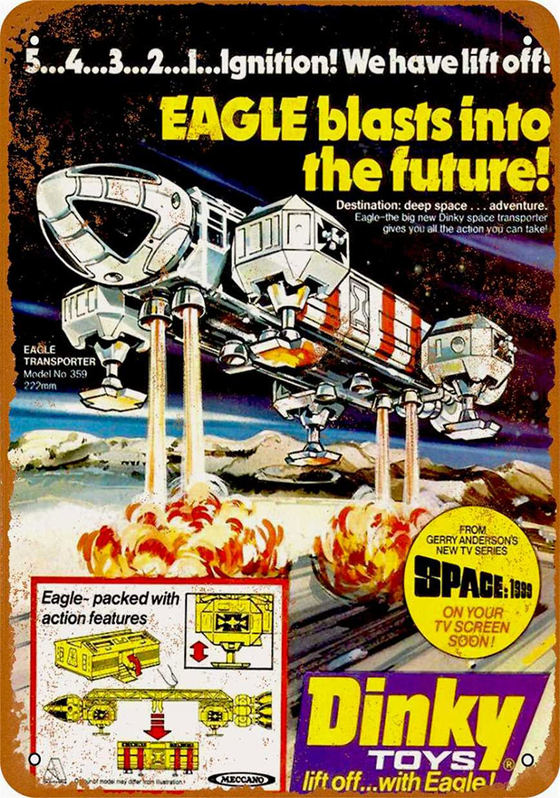 "Space 1999 Dinky Eagle Toy Ad 1975 Metal Sign 9"" x 12"""