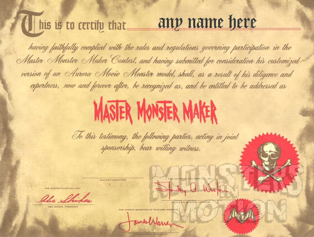 Aurora Master Model Maker Contest Certificate Reproduction