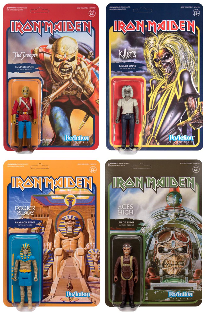 "Iron Maiden Eddie Set of 4 ReAction 3.75"" Figures"