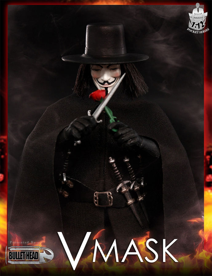 V for Vendetta Guy Fawkes V Mask 1/12 Scale Figure by Bullet Head