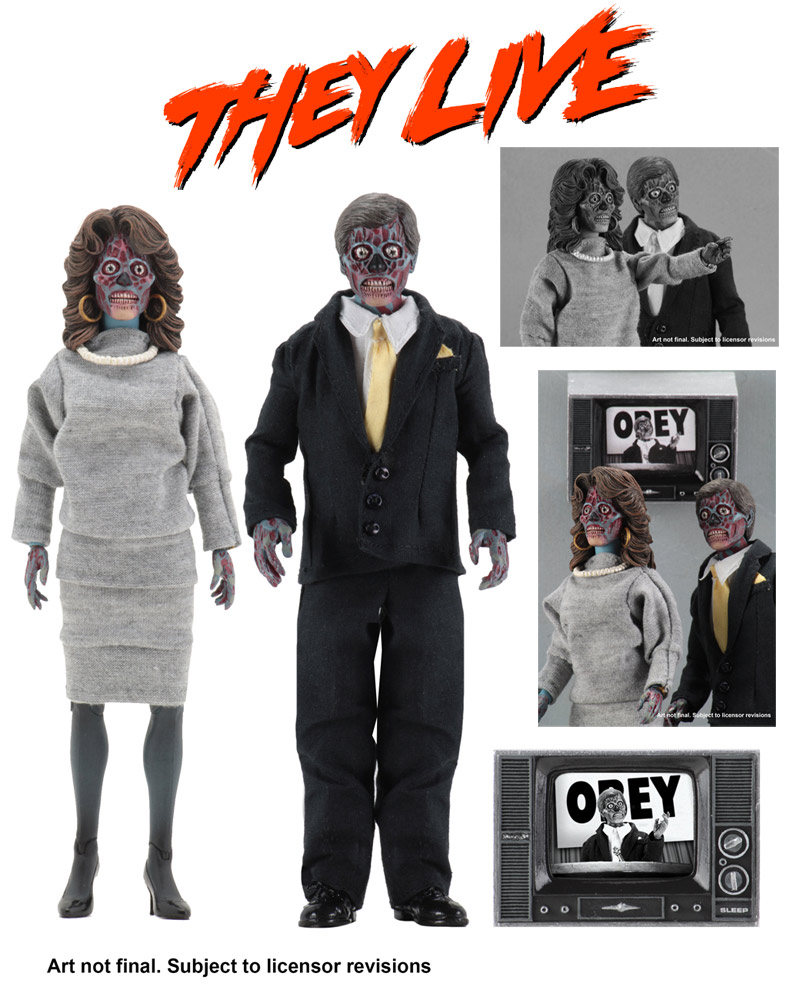 "They Live 8"" Clothed Alien 2 Pack Action Figures"