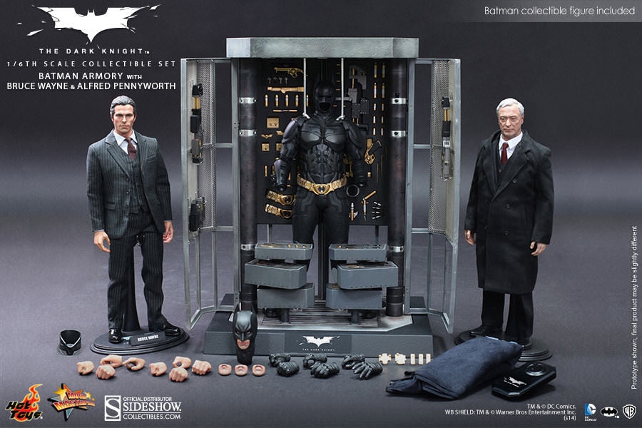 Batman Armory with Bruce Wayne and Alfred 1/6 Figure Set by Hot Toys