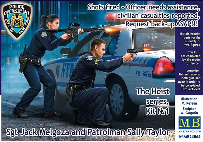 Heist Series Sgt Jack Melgoza and Patrolman Sally Taylor 1/24 Scale Model Kit by Master Box