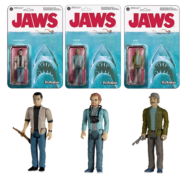 "Jaws Set of 3 3/34"" ReAction Action Figures Quint, Brody and Hooper"