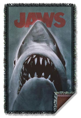 Jaws Great White Shark Woven Tapestry Blanket
