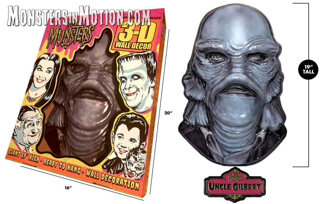 "Munsters Uncle Gilbert 3D 20"" Wall Decor w/Plaque"