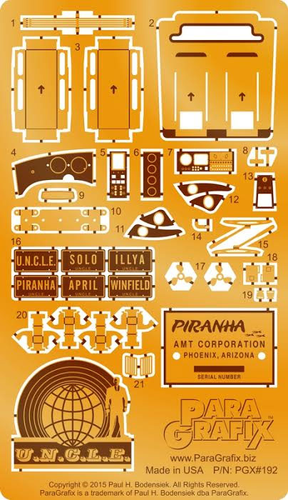 Piranha Spy Car 1/25 Scale Model Kit Photoetch & Decals Set Man From U.N.C.L.E.