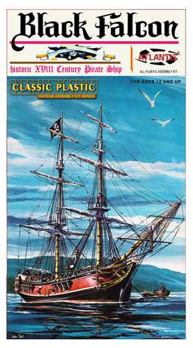 Black Falcon Pirate Ship Classic 1/100 Scale Plastic Model Kit Aurora Re-Issue