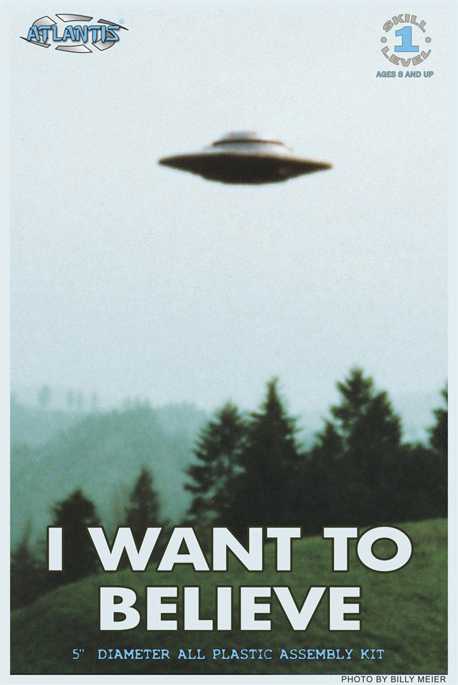 "I Want To Believe UFO Flying Saucer 5"" Plastic Model Kit W Lights X-Files"
