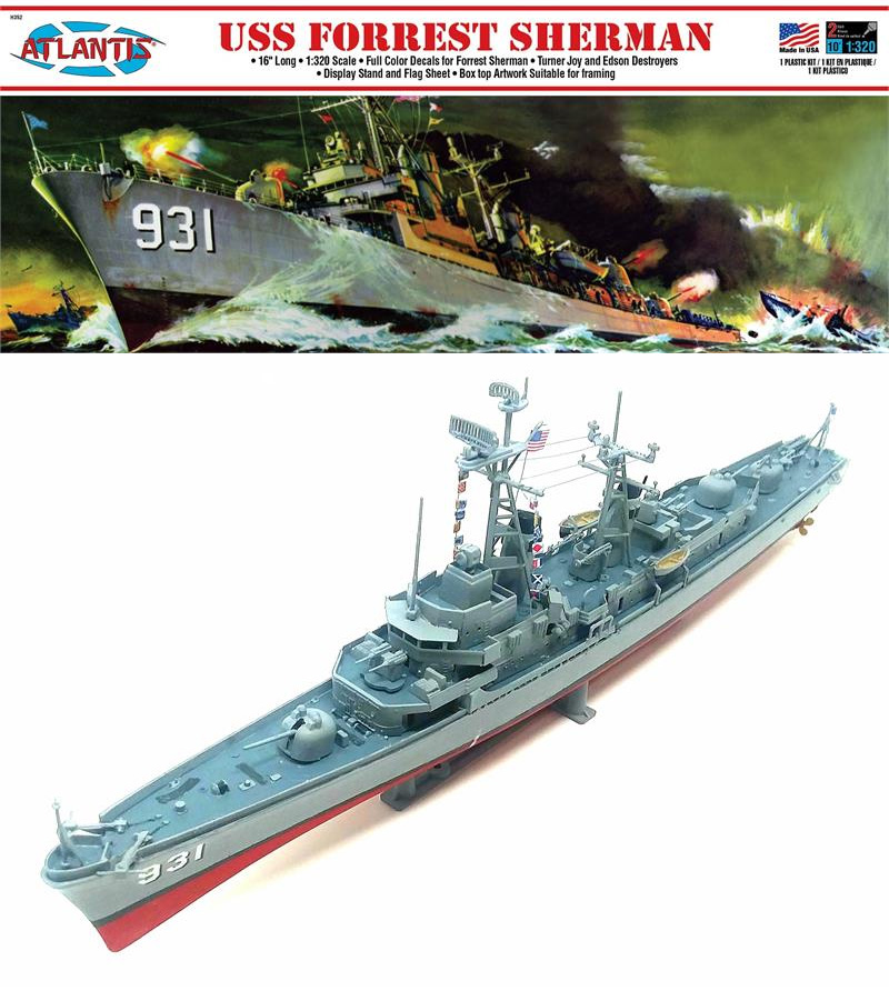 USS Forrest Sherman Destroyer 1/320 Scale Model Kit Aurora Reissue