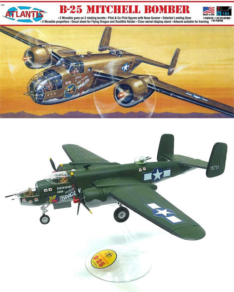 B-25 Mitchell Bomber Flying Dragon 1/64 Scale Model Kit Aurora Reissue
