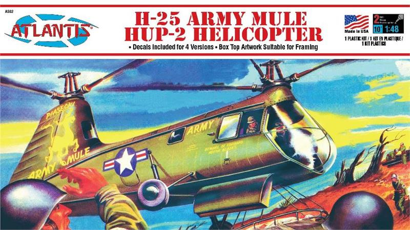 H-25 Army Mule Hup Helicopter 1/48 Scale Model Kit Aurora Reissue