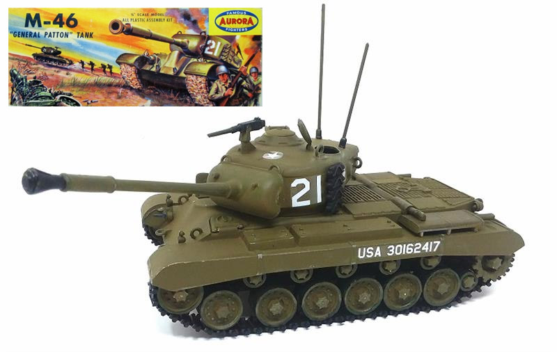 M-46 Patton Tank 1/48 Scale Model Kit Aurora Re-Issue by Atlantis