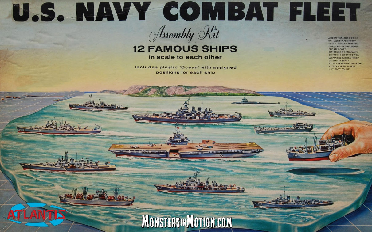 U.S. Navy Combat Fleet Task Force Set 12 Different Ships Renwall Reissue Model Kit by Atlantis