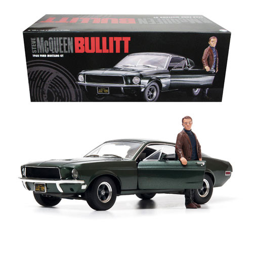 Bullitt Steve McQueen Ford Mustang 1/18 Scale Replica with Figure
