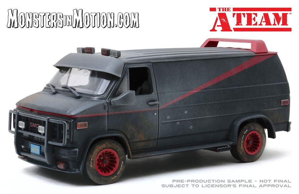 A-Team 1/18 Scale Van Weathered Version with Bullet Holes Diecast Replica