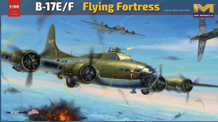 B-17E/F Flying Fortress Bomber 1/32 Scale Model Kit by HK Models