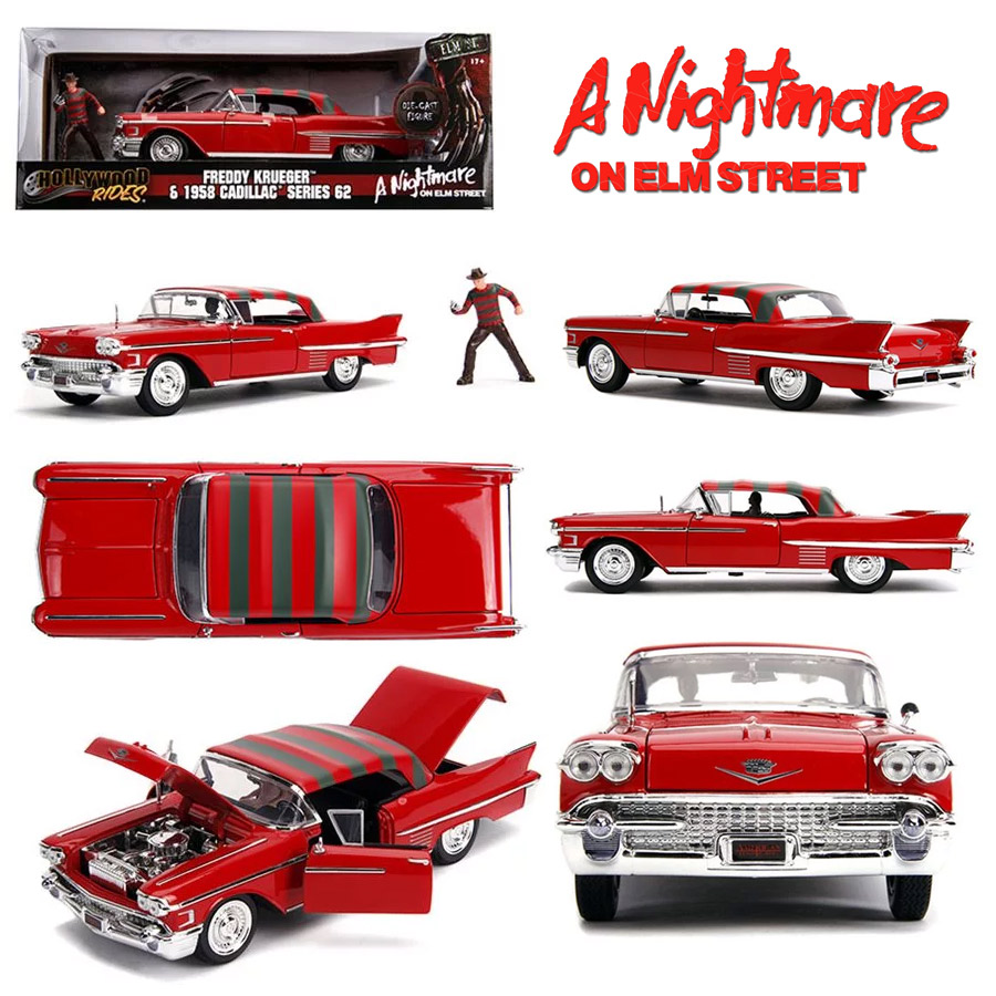 Nightmare on Elm Street 1958 Cadillac 1/24 Scale Series 62 Diecast Replica with Freddy Krueger Figure