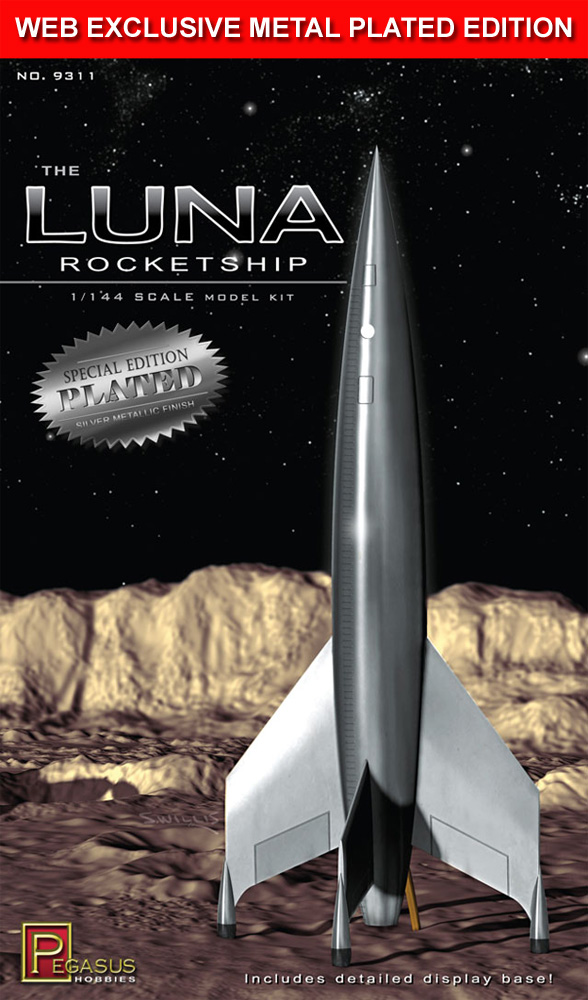 Destination Moon Luna Rocketship 1/144 Scale Model Kit SPECIAL METAL PLATED EDITION