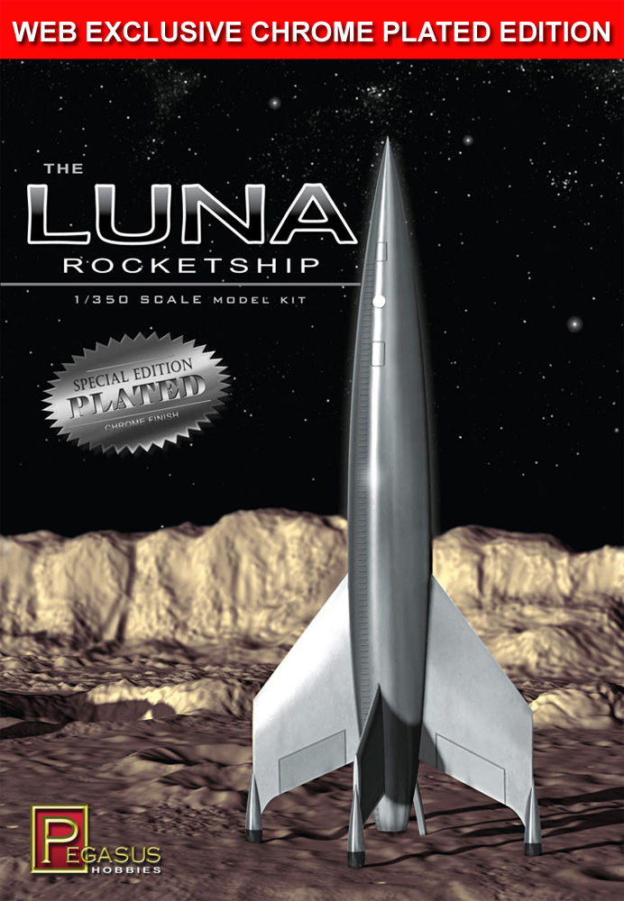 Destination Moon Luna Rocketship 1/350 Scale Model Kit SPECIAL CHROME PLATED EDITION