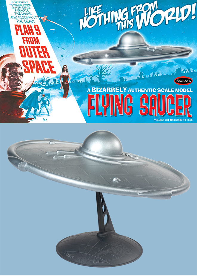 Plan 9 From Outer Space Flying Saucer Model Kit by Polar Lights Lindberg Re-Issue