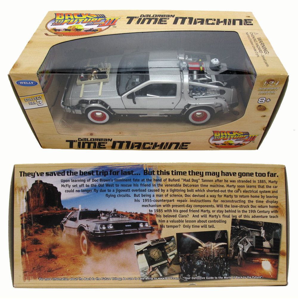 Back to the Future Part 3 DeLorean Time Machine 1/24 Scale Die Cast Replica