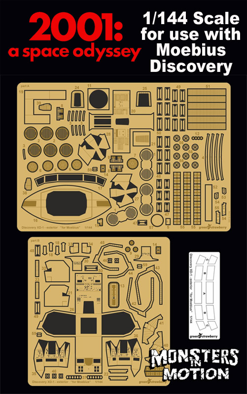 2001: A Space Odyssey 1/144 Scale Cockpit & Exterior Photoetch Upgrade Set for Moebius Discovery XD-1 Model Kit by Green Strawberry