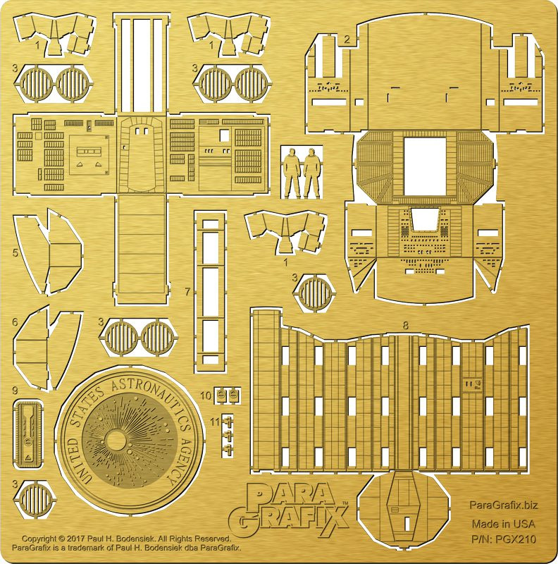 2001: A Space Odyssey Discovery 1:144 Scale Cockpit and Airlock Photoetch Detail Set for Moebius Model Kit