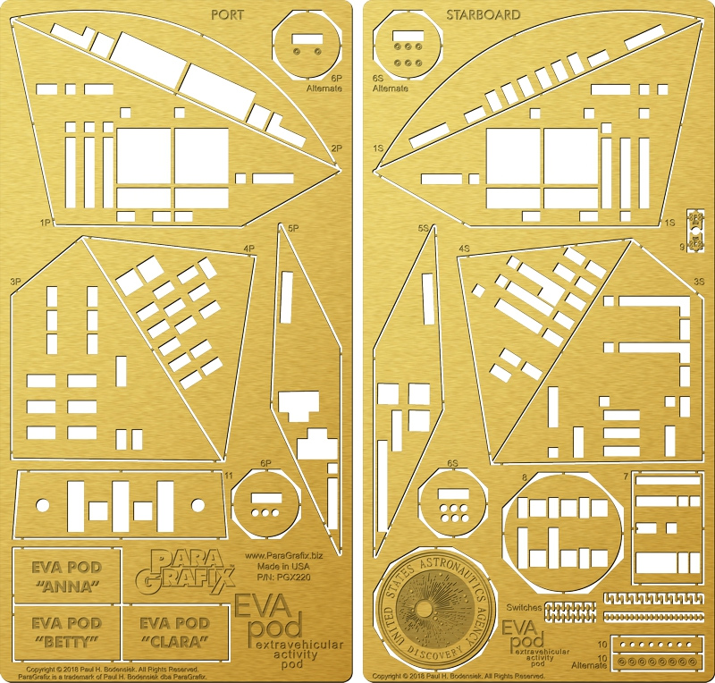 2001: A Space Odyssey EVA Pod 1/8 Scale Photoetch Detail Set for Moebius Model Kit