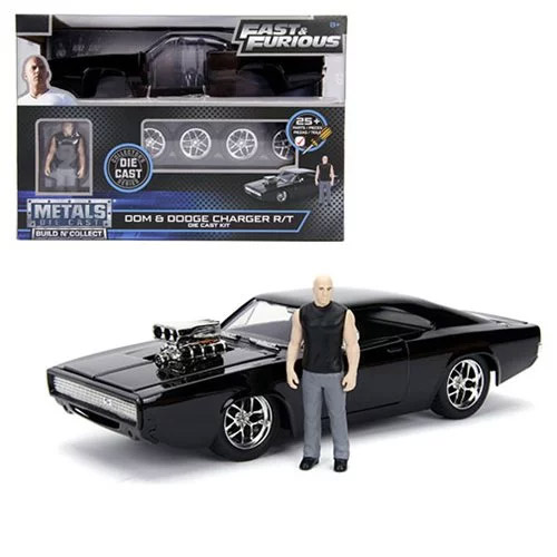 Fast and the Furious Dom's Dodge Charger 1:24 Scale Build and Collect Die-Cast Metal Vehicle with Dom Figure