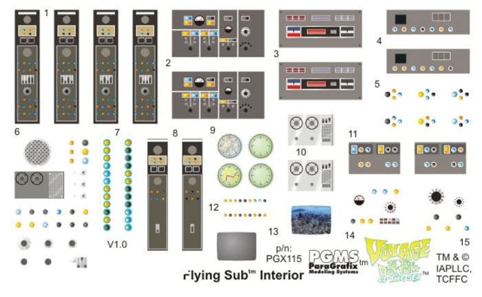 Voyage to the Bottom of the Sea Flying Sub 1/32 Interior Decals