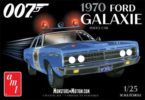 James Bond 007 Diamonds are Forever 1970 Ford Galaxie Police Car 1/25 Scale Model Kit AMT Re-Issue