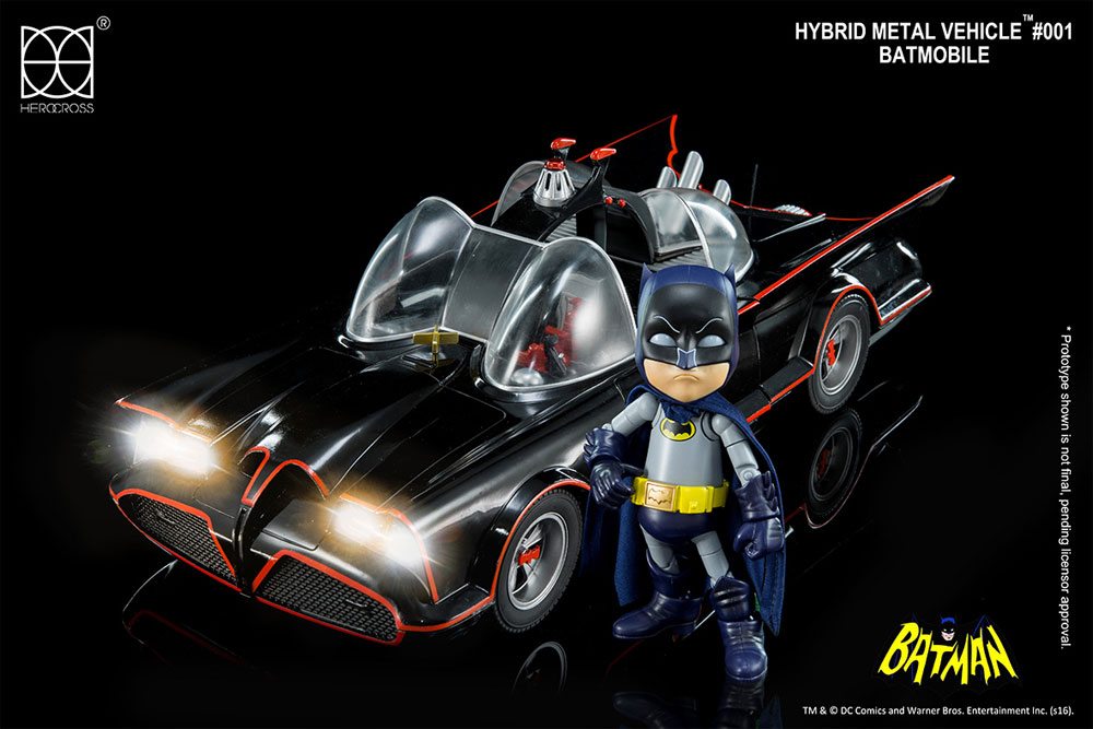 Batman Classic 1966 Batmobile and Batman Hybrid Metal Vehicle with Lights and Bluetooth Speaker