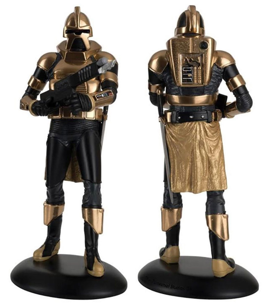 "Battlestar Galactica 1978 GOLD Cylon Centurian 8"" Figure with Ciollector's Magazine by Eaglemoss"