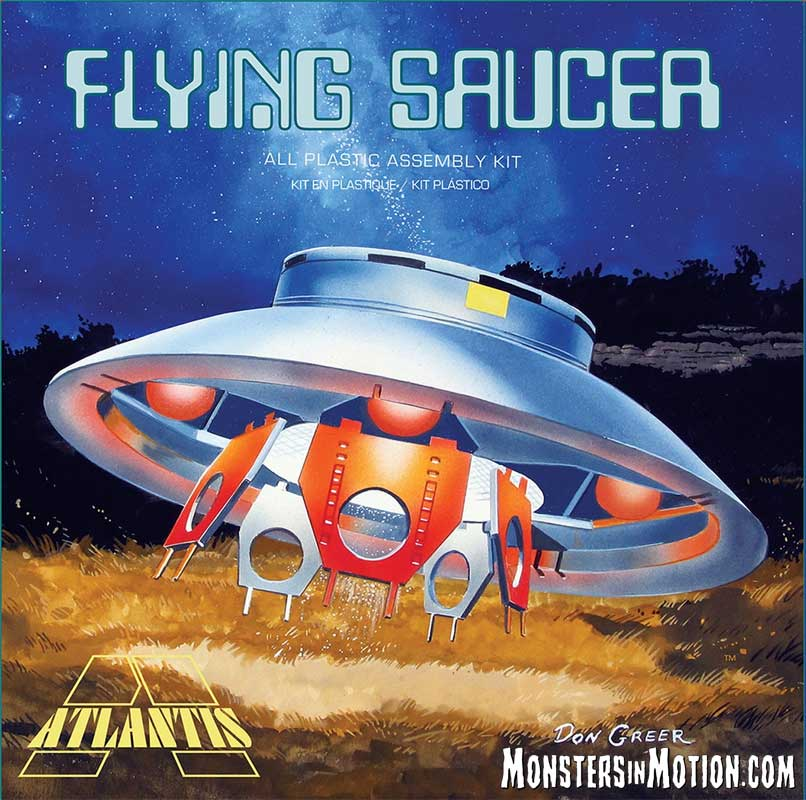 Invaders Flying Saucer U.F.O. 1/72 Scale Model Kit Deluxe Aurora Atlantis Re-Issue with Clear Lights and Dome