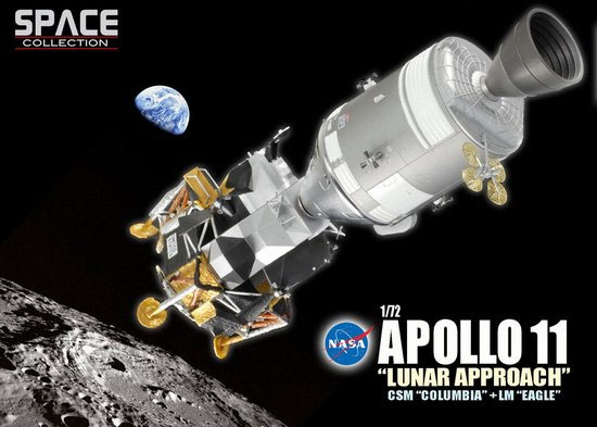 Apollo 11 Lunar Approach CSM Columbia + LM Eagle 1/72 Model Kit Re-Issue