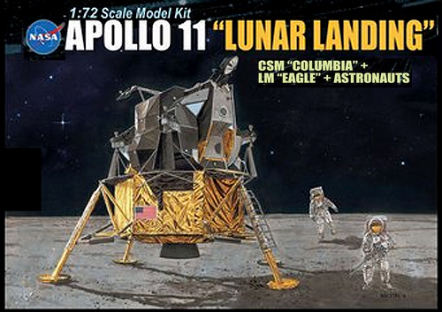 Apollo 11 Lunar Landing CSM Columbia + LM Eagle + Astronauts Model Kit