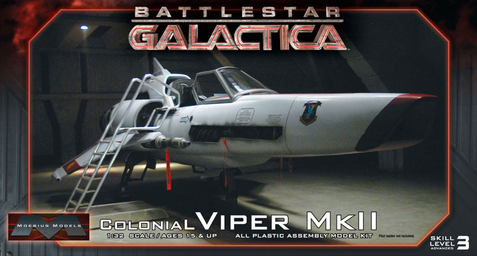 Battlestar Galactica 2003 Colonial Viper MK II 1/32 Scale Model Kit with Pilot by Moebius