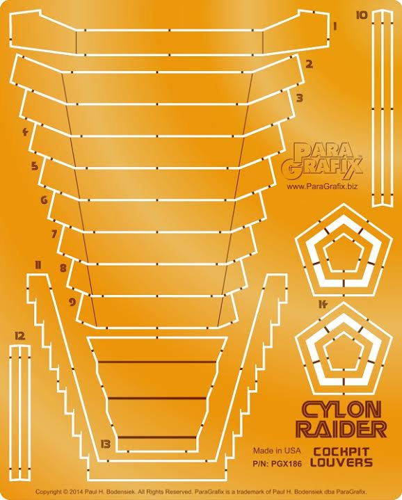 Battlestar Galactica 1978 Cylon Raider 1/32 Scale Model Louver Upgrade Set for Moebius