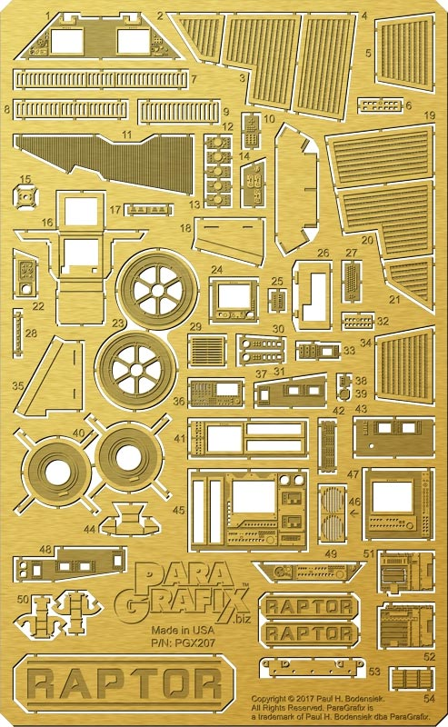 Battlestar Galactica 2003 Raptor 1/32 Scale Model Kit Photoetch and Decal Set