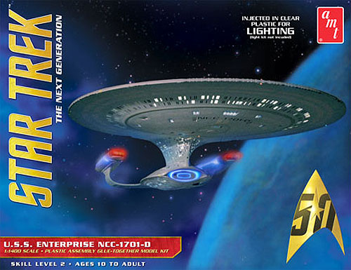 Star Trek U.S.S. Enterprise 1701-D 1/1400 Scale Clear Version Model Kit by AMT