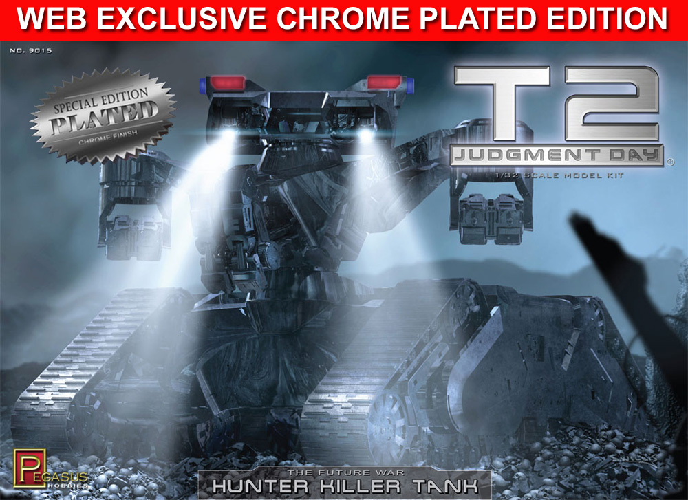 Terminator 2 Hunter Killer Tank 1/32 Scale Model Kit WEB EXCLUSIVE SPECIAL CHROME PLATED EDITION