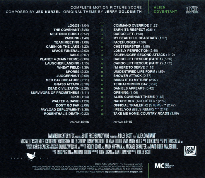 Alien Covenant Complete Soundtrack CD Jed Kurzel 2 CD Set - Click Image to Close
