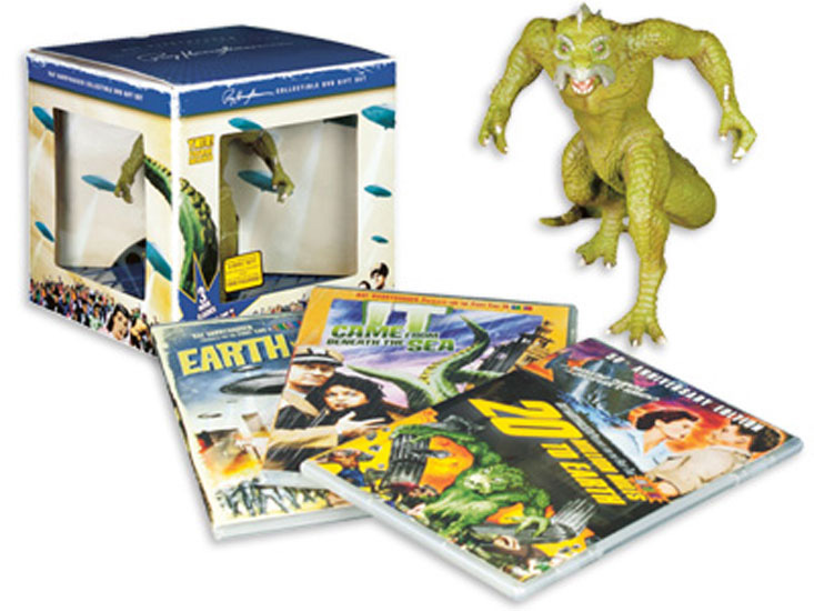 Ray Harryhausen 3 Film DVD Gift Set with Ymir Figure It Came from Beneath the Sea; Earth vs. the Flying Saucers; 20 Million Miles to Earth Colorized
