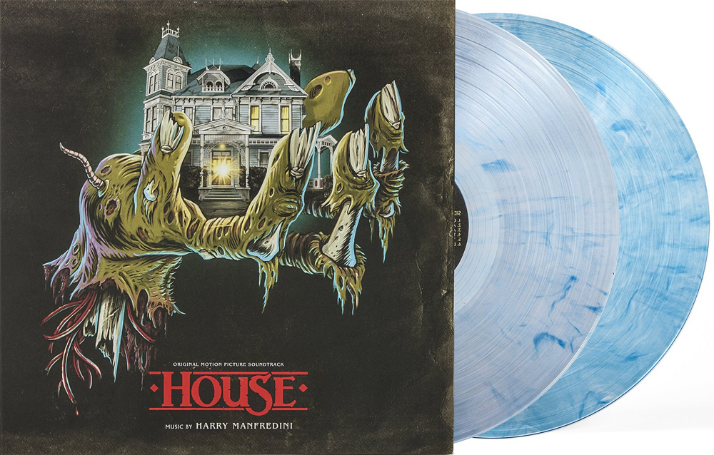 "House 1 and 2 Soundtrack Vinyl LP Harry Manfredini ""Crystal Skull"" Variant (Clear w/ Blue Swirl Vinyl)"
